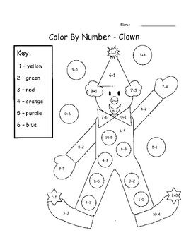 Add & Subtract Color By Number - This is a set of 6 printable color ...