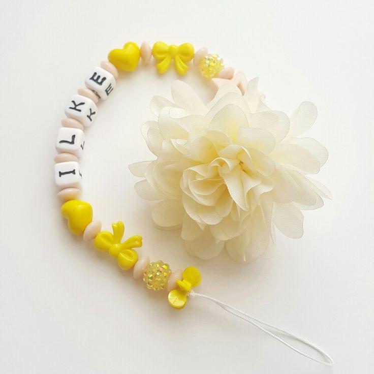 Emzik zinciri yeni sarı bebek emzik isme özel tasarım