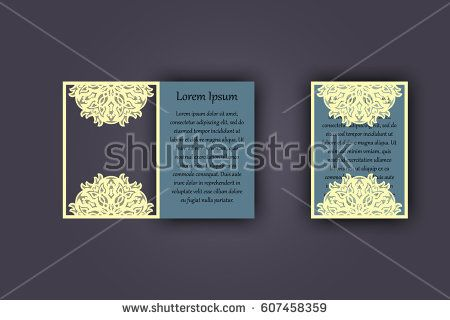 Wedding invitation or greeting card with vintage lace ornament. Mock-up for laser cutting. Vector illustration