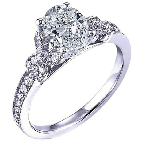 engagement ring oval diamond butterfly engagement ring pave band 1280 - Butterfly Wedding Rings