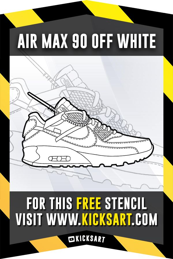 promo code 2f271 c1f2e This is a FREE sneaker stencil/template of the Nike Air Max 90 Off White  available now on KicksArt.com!!