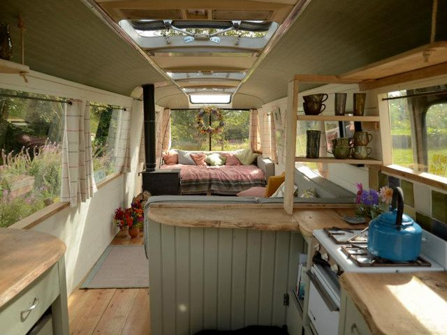 Majestic Bus - Outdoor Vacations - Country Living neat idea, could see this a a vacation cabin or full time in a warm climate