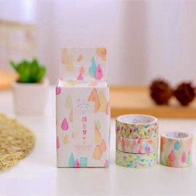 4 washi tapes japanese korean design joyful teardrop