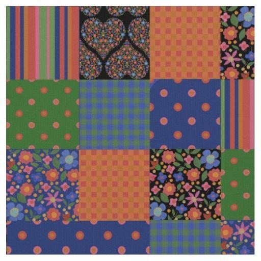 Chic Folk Art Style Faux Patchwork Fabric; up to $27.95 per yard - http://www.zazzle.com/chic_folk_art_style_faux_patchwork_fabric-256412593960976747?rf=238041988035411422&tc=pintw