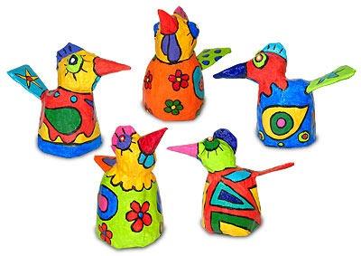 Papier-mache birds