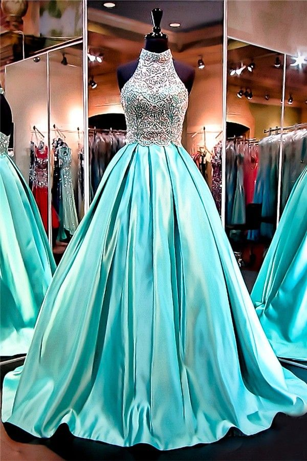 Ball Gown High Neck Open Back Mint Green Satin Beaded Prom ...