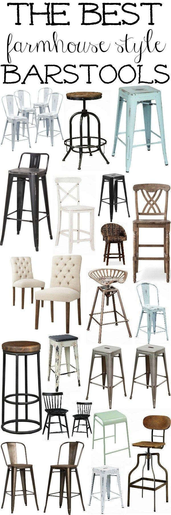 The best farmhouse style barstools - Great source for farmhouse decor for every room of the house!                                                                                                                                                                                 More
