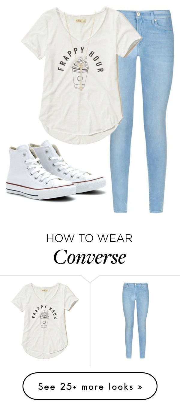 """United #50"" by maddie31703 on Polyvore featuring 7 For All Mankind, Hollister Co., Converse and EF Collection"