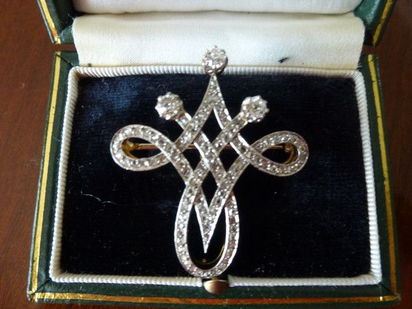 FRENCH 1900 DIAMOND BROOCH/PENDANT Edwardian