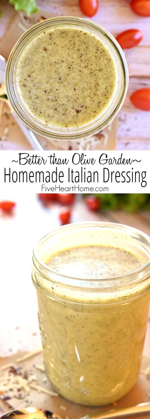 """Better than Olive Garden"" Homemade Italian Dressing ~ this all-natural, zesty salad dressing is economical, easy to make, delicious on salads, and makes an excellent marinade! 