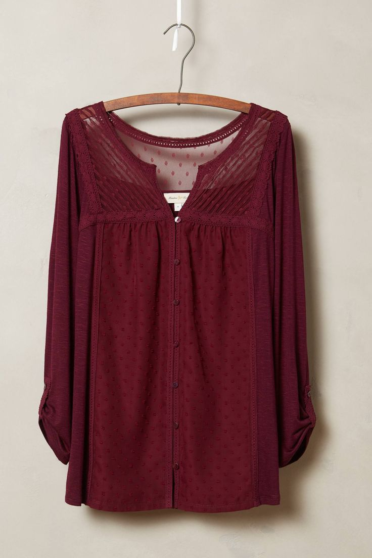 Tavia Peasant Top - I like the deep maroon color, plus unusual details make this top a little different...