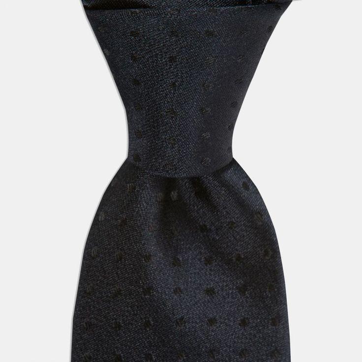 Siyah Desenli İpek Kravat