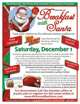 2nd annual breakfast with santa at red robin gourmet burgers st louis mo kids
