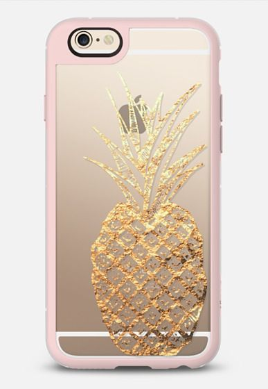 Faux Gold Leaf Fruity Summer Pineapples on Transparent Background iPhone 6 case by BlackStrawberry | Casetify