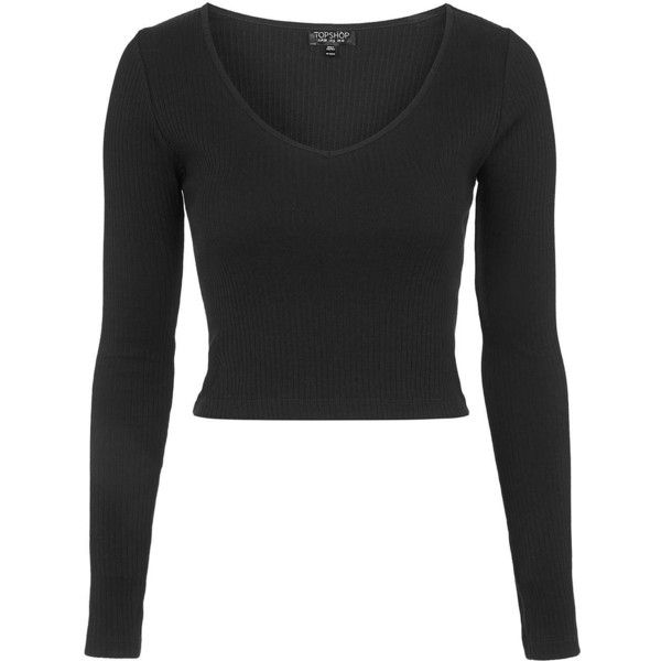 TOPSHOP TALL V-Neck Ribbed Top ($18) ❤ liked on Polyvore featuring tops, crop tops, shirts, black, cotton shirts, black v neck shirt, v-neck tops, black long sleeve shirt and v neck shirts