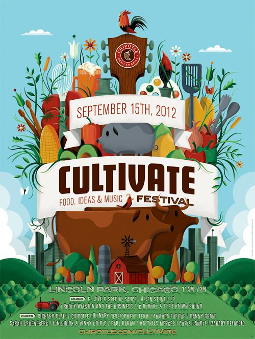 Chipotle Cultivate Festival 2012 Poster by Invisible Creature
