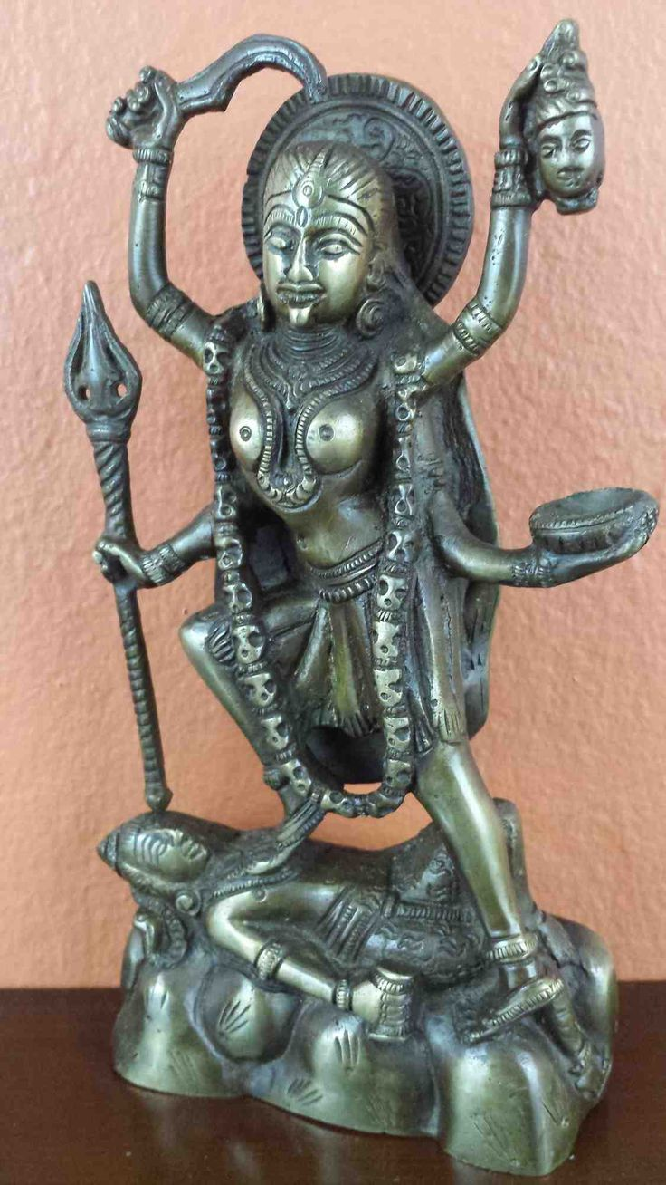 Hindu Goddess Kali Statue Figurine Sculpture Antique Brass Finish Home Decor 8 Inches High