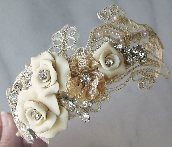 Champagne Lace Headband with Vintage Rhinestones and Pearls, Bridal Headband