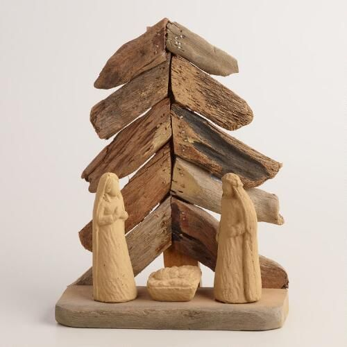 One of my favorite discoveries at WorldMarket.com: Driftwood Nativity Scene with Tree