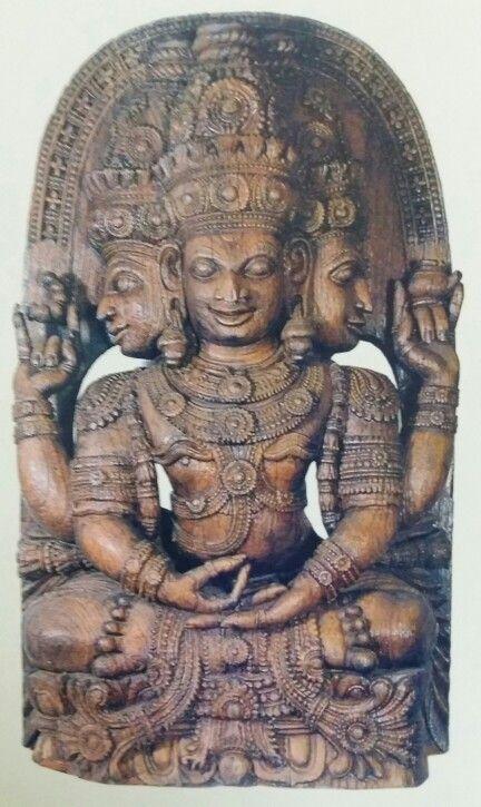 """Lord Brahma. "" Wooden sculpture. Chera Dynasty. 15th Century AD. Thiruvananthapuram Museum, Kerala, India."
