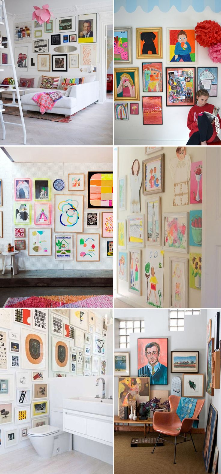 24 gallery walls to display children's art | @artbarblog