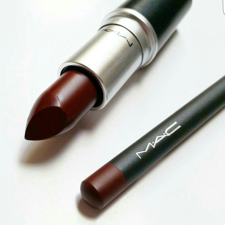 MAC Lip combo. DIVA Lipstick + BURGUNDY Lip Pencil. @ instagram.com/thebeautytab