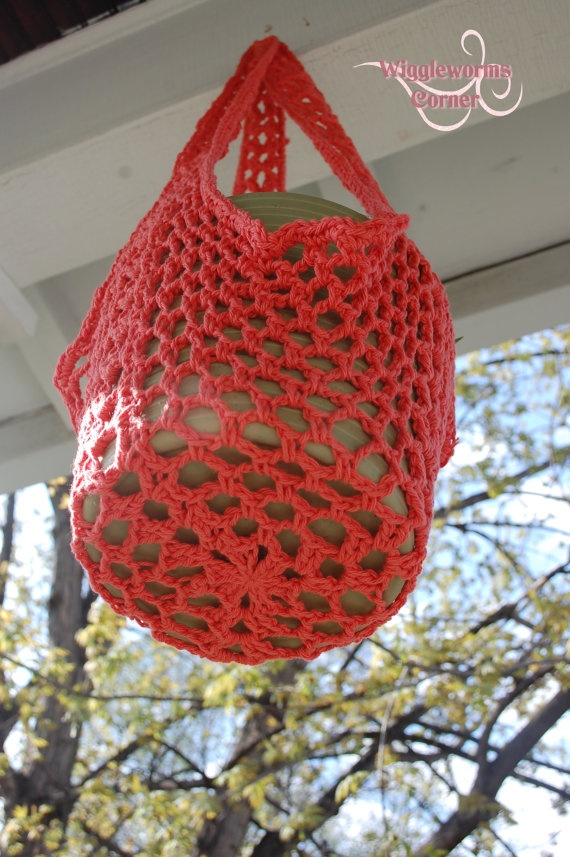 Crochet Hanging Flower Basket Pattern : Crocheted Hanging Plant Holder Style four by ...