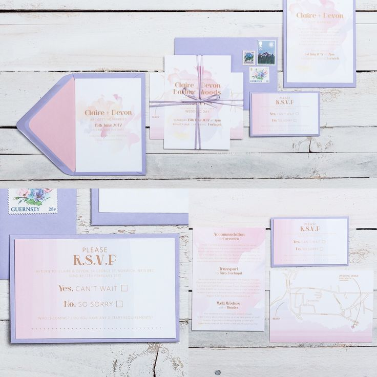 OMBRÉ  ODYSSEY Wedding stationery collection! Available in ALL colours! Soft brush strokes create a stunning background for flirty elementary fonts and text arrangement. The water colour wash base is the ideal way to incorporate your wedding colours. The result is delicate, giving the collection a free-flowing essence. If you have any questions or to find out about the available products in this collection and their prices, please visit the website.