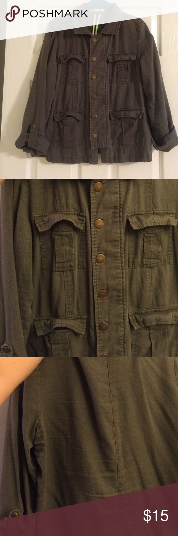 Maurices linen utility jacket Snap up front and sleeves. 4 pocket jacket. Dark olive green color. No stains or holes. Looks really cute over dresses Maurices Jackets & Coats Utility Jackets