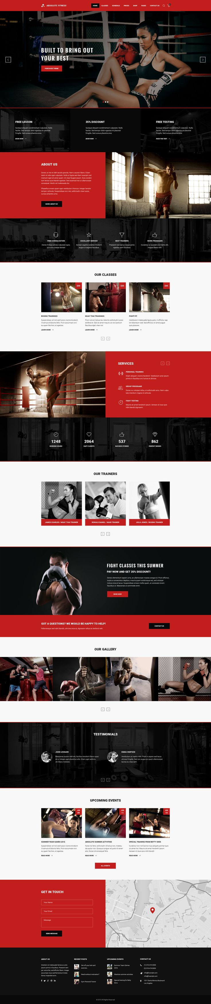 About Absolute Fitness PSD Template    Absolute Fitness – modern and functional PSD Template for sports clubs in different directions: Fitness, GYM, Bodybuilding,   Boxing, Dancing, Yoga, Personal Tra...
