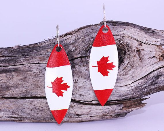 Show your Canadian pride with these beautiful Canadian Flag earrings!