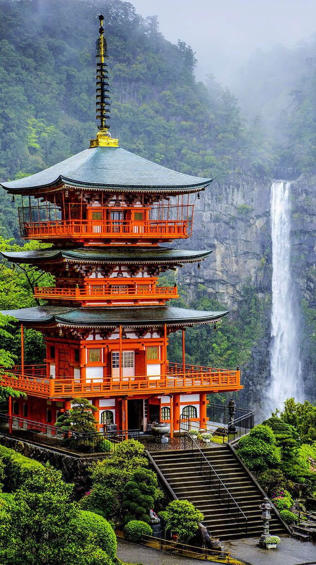 The perfect combination of Japan's remarkable nature and ancient architecture. Located in Wakayama Prefecture, Higashimuro, the pagoda stands right beside Japans tallest waterfall (133 meters high or over 430ft).