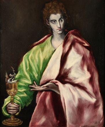 San Juan Evangelista   El Greco (1541-1614)  Óleo sobre lienzo  San Juan, el más joven de los apóstoles y predilecto del Señor, es una de las figuras más bellas de este Apostolado. Sostiene un cáliz de oro del que sale una serpiente, según cuenta la Leyenda Dorada de Jacobo Della Vorágine el Emperador Domiciano quiso matarle ordenándole que bebiera un vino envenenado, pero cuando él alzó la copa para beber, el veneno escapó bajo la figura de una serpiente.