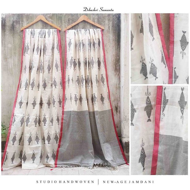 """In love with this one..All over jamdani fish saree in tussar silk & khadi cotton . Whatsapp: +919051051949 Email: debashrisamanta@gmail.com .…"""