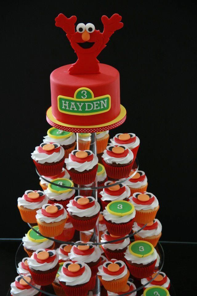 Elmo Cupcake Tower Amp Mini Cake Party Ideas Pinterest