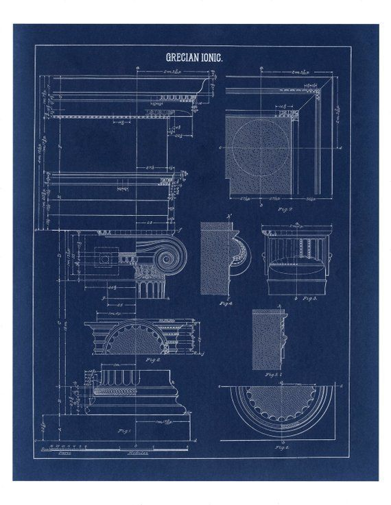 Blueprint Wall Decor Greek Ionic Column Drawing Architecture Poster Architectural Print Column In 2020 Blueprint Drawing Architectural Prints Architecture Poster
