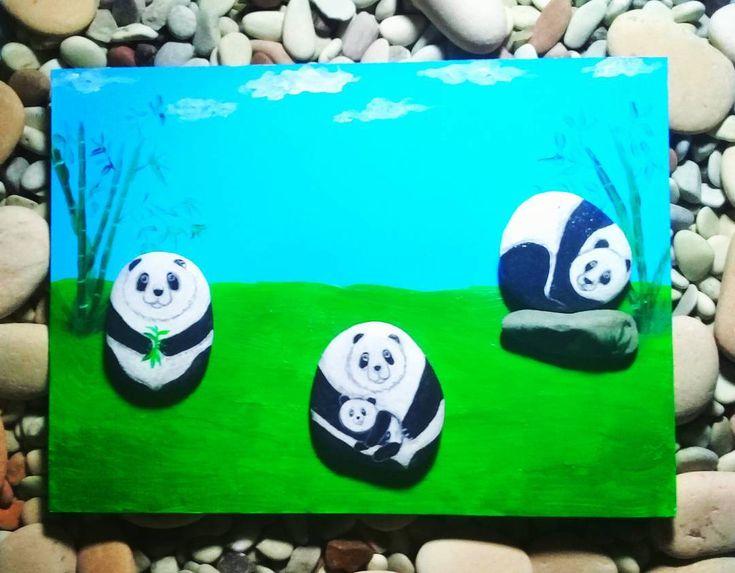 "12 Likes, 2 Comments - Rafa Pebble Art (@himawan_hijirosan) on Instagram: ""Rafa Pebble Art : Panda's Family #pebbles #pebbleart #Handmadecraft #craft #homedecoration…"""