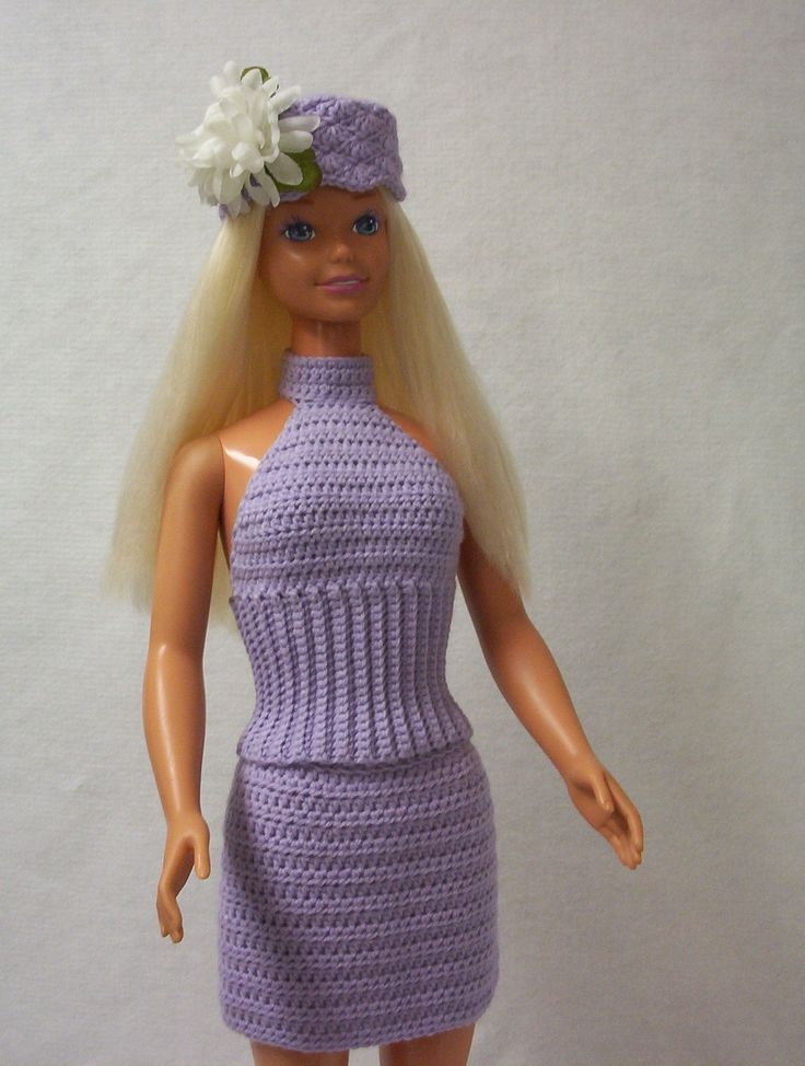 """Check out my blog http://www.marilynsmenagerie11.wordpress.com   Crochet ~ Two-Piece Halter Dress ~ My Size Barbie Doll (36""""/38"""")"""