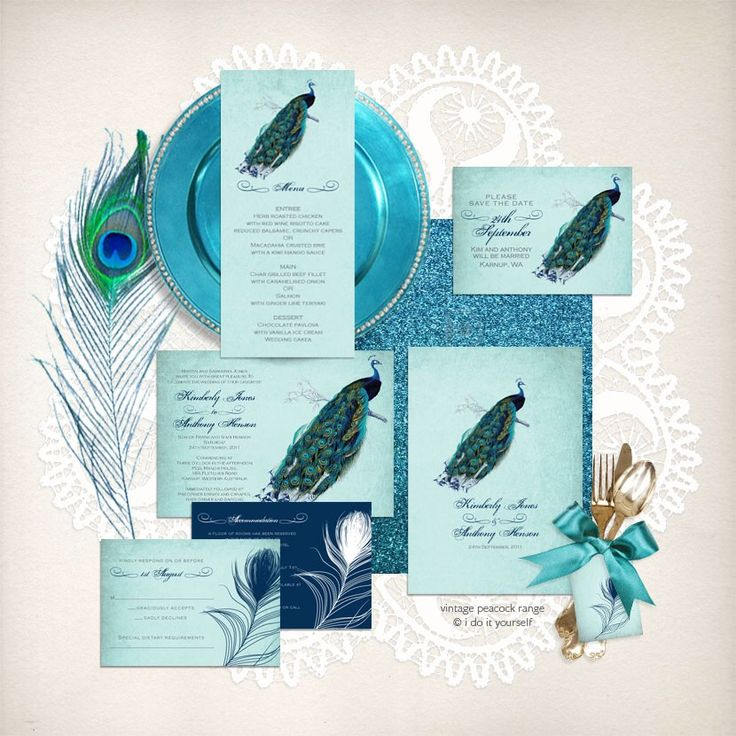 68 best wedding stationery images on pinterest wedding vintage peacock wedding stationery by i do it yourself wedding printable stationery solutioingenieria Choice Image