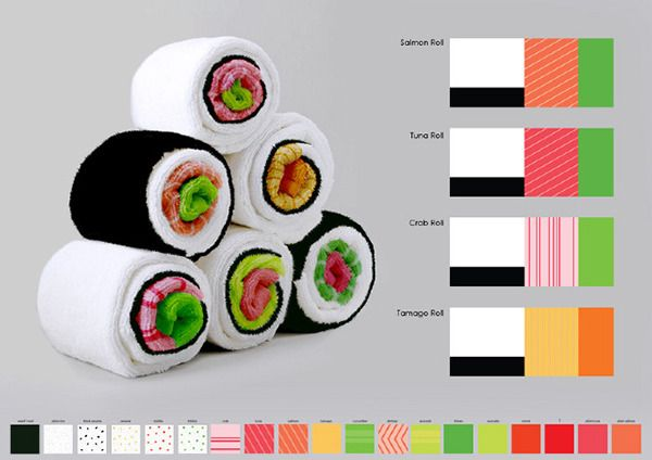Un simpatica industrial designer israeliana, Jenny Pokryvailo, ha adottato un nuovo metodo nel piegare asciugamani e salviette per la cucina per creare delle favolose composizioni che ricordano indiscutibilmente il sushi!  Da provare per stupire i Vs ospiti e stuzzicare il palato prima di una cena a base di vero sushi!  http://cargocollective.com/jennypo28/Sushi-towels  #JennyPokryvailo #Sushi #towels #homeidea #consiglidicasa