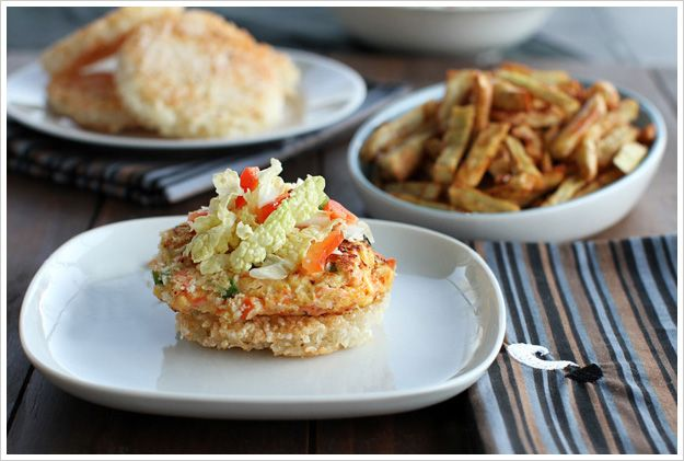 Salmon Burgers On Sticky Rice Buns With Korean Yam Fries