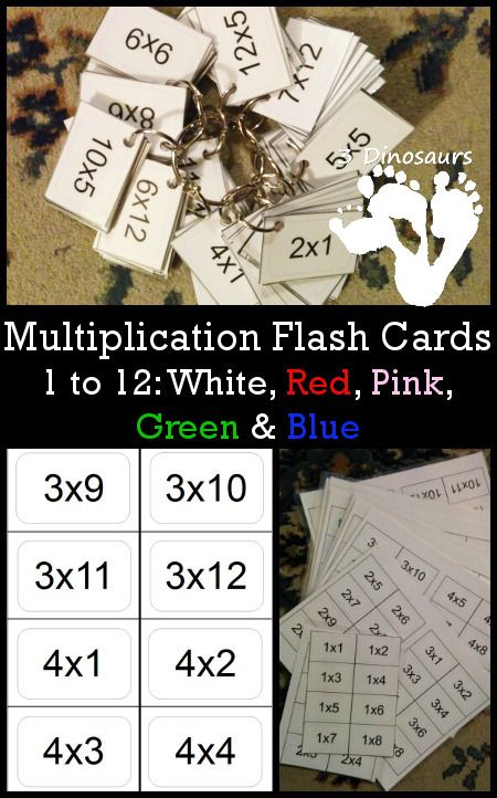 Free Multiplication Flash Cards 1 to 12 - Color red, pink, green, blue and white - 3Dinosaur.com