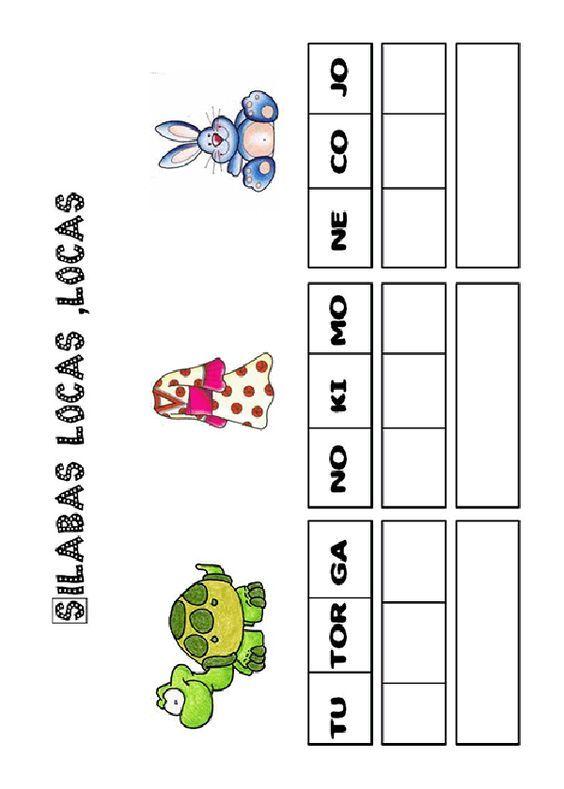 Actividades para imprimir Pon las sílabas en orden. http://www.pequescuela.com/actividades-preescolar-imprimir-silabas-locas1.html