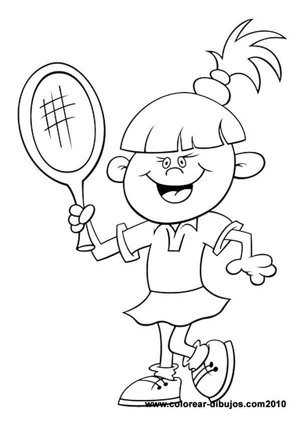 Dibujos de deportes para colorear; dibujos de niña jugando al tenis ...
