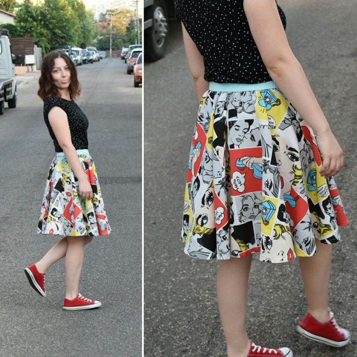 Handmade comics circles skirt