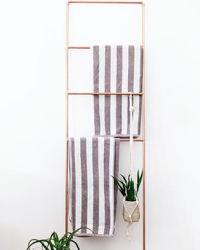 One of our favourite uses of the Copper Ladder is a bath towel rail. Another idea, in light of the holiday season, is to hang your festive Christmas stockings on this piece.