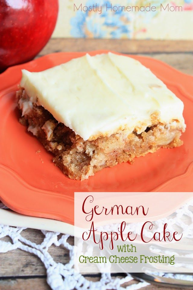 German Apple Cake with Cream Cheese Frosting - From scratch classic apple cake with a homemade cream cheese frosting. The perfect dessert for company!