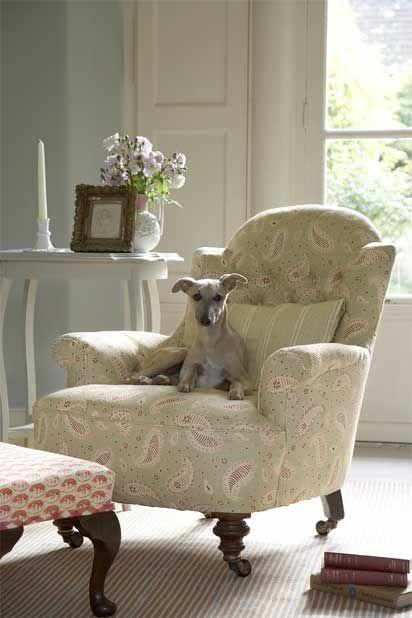 Chair upholstered in Vanessa Arbuthnott fabric