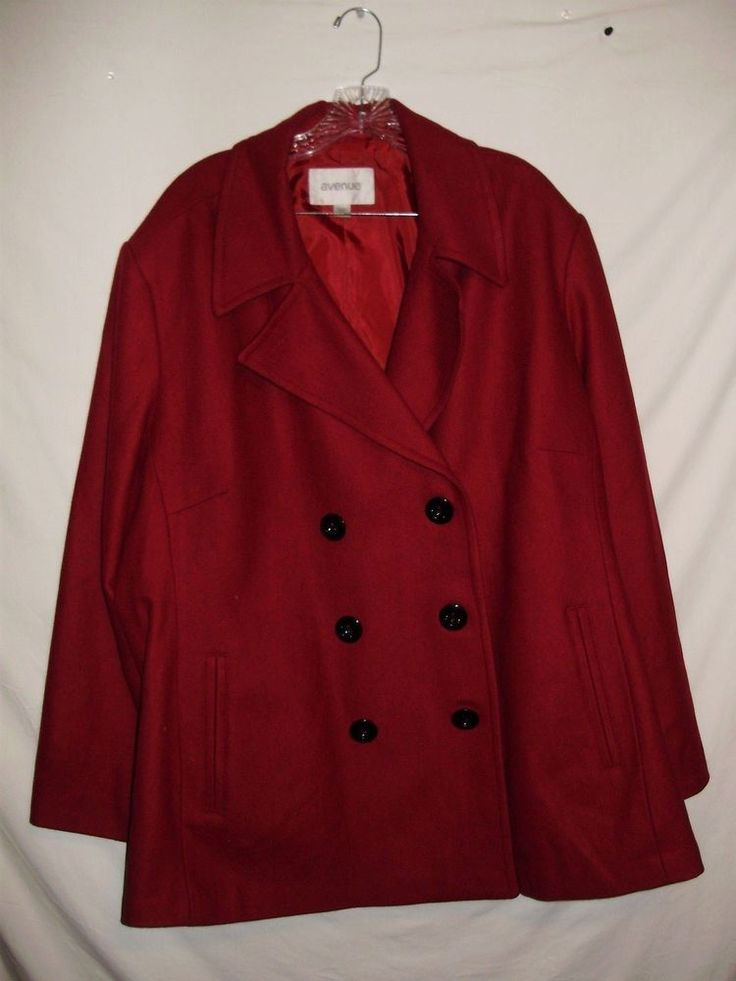 Avenue Womens Peacoat Plus Size 30/32 Red Wool Winter Lined A53 #Avenue #Peacoat #Casual