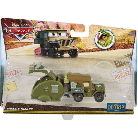 Disney Cars Road Trip Sarge Die-Cast Vehicle and Trailer, Assorted